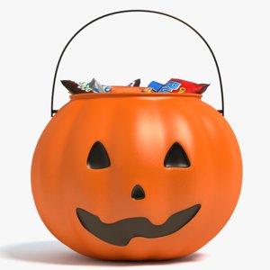 halloween candy bucket 3d model