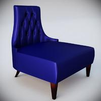3d salon lounge blue velvet