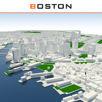 3d boston cityscape