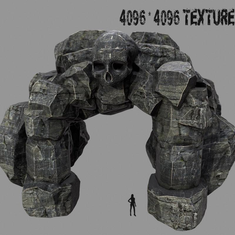 3d model skull cave