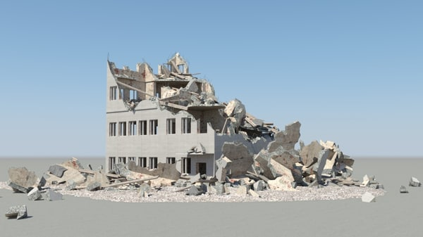 destroyed building 3d max