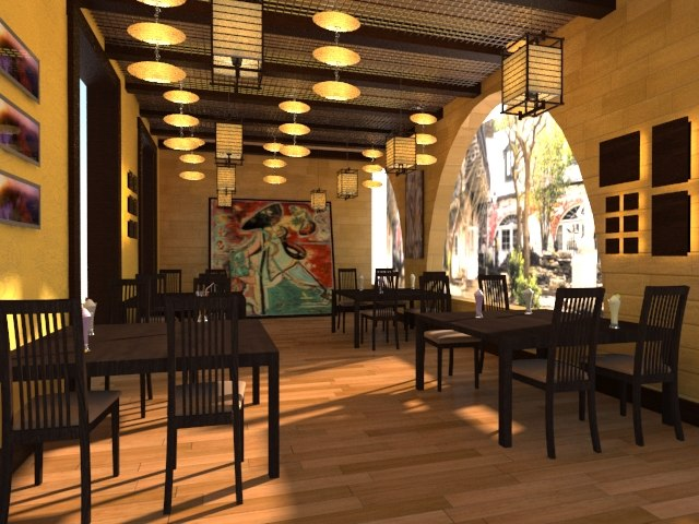 3d italian restaurant terrace model