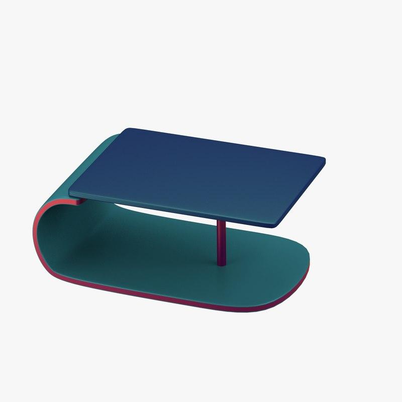 modern table green blue fbx