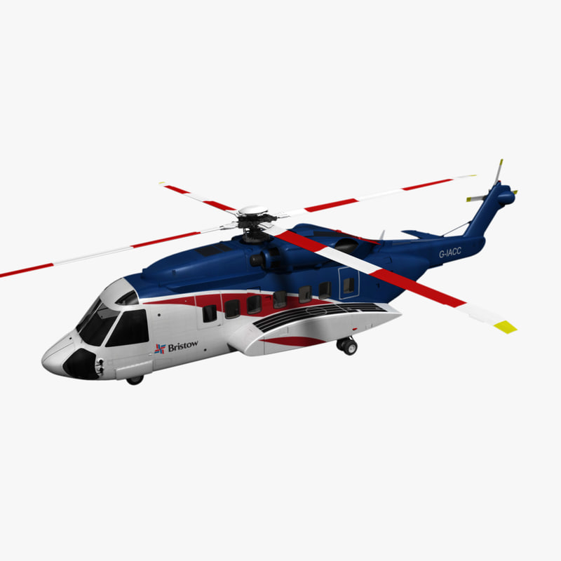 s-92 bristow sikorsky helicopter 3d model