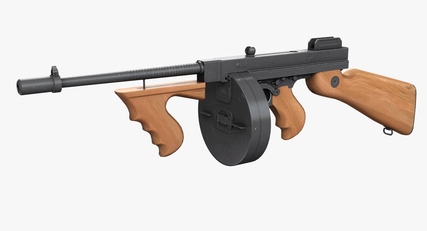 3d model tommy gun