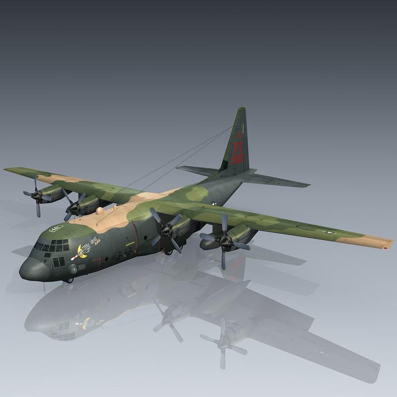 3d max gunship lockheed c-130 hercules