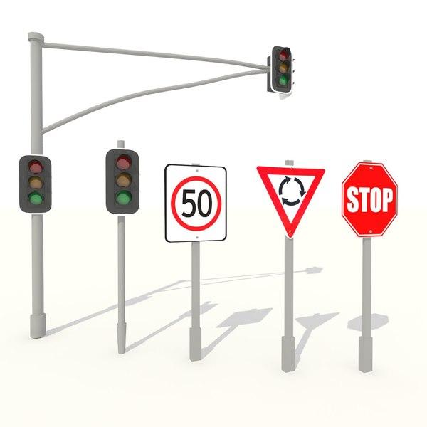 3d max traffic light road signs