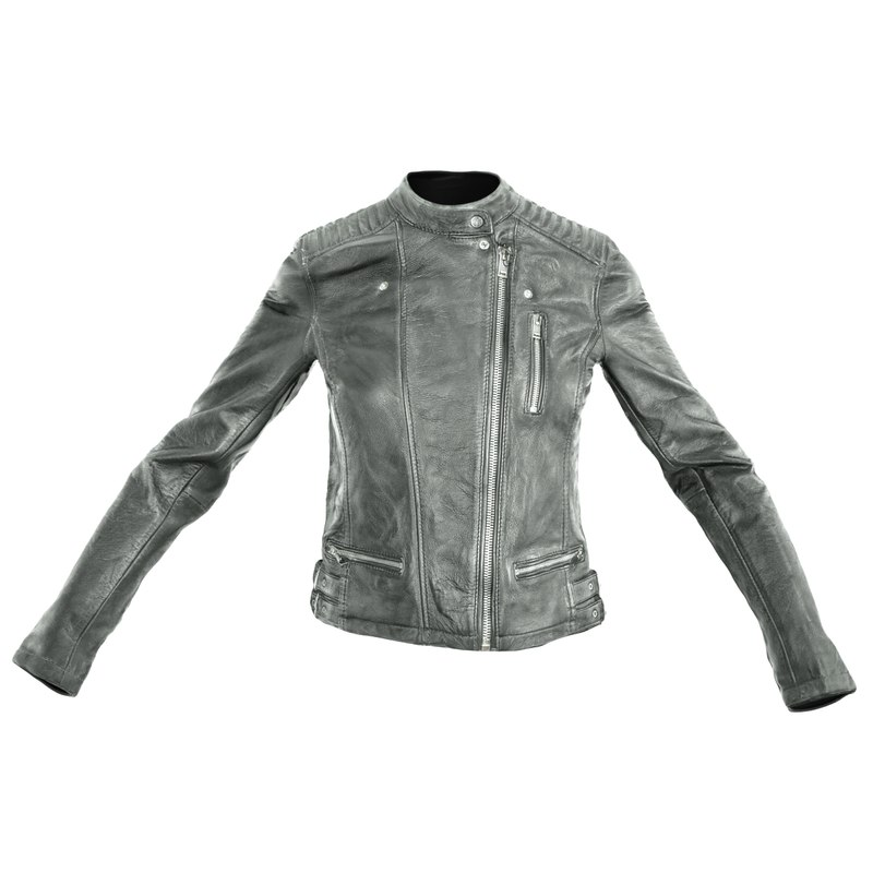 black leather jacket closed obj