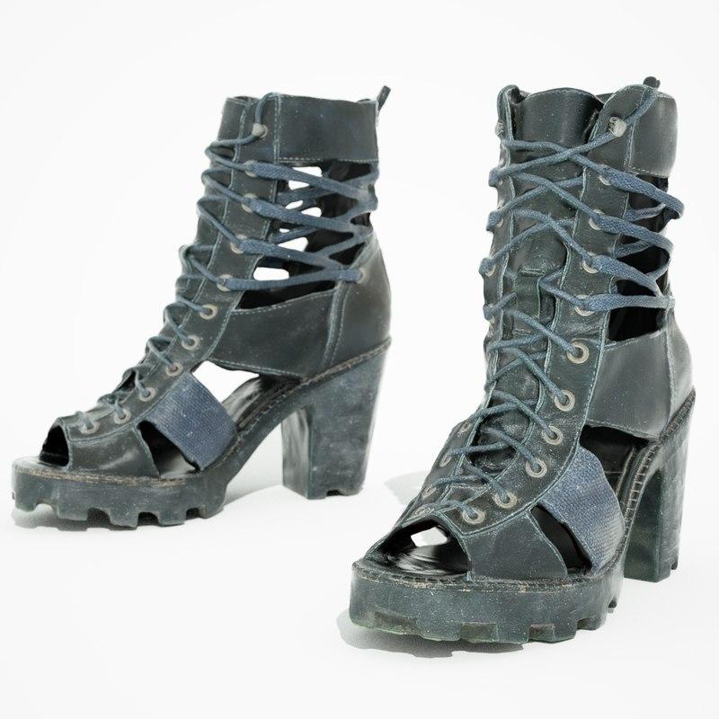black sandal heels 3d obj