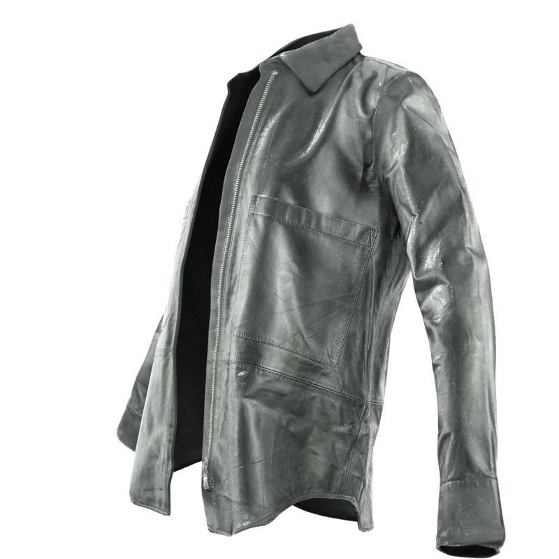 obj black leather shirt