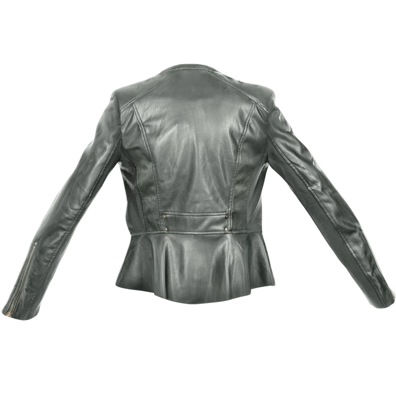 black leather jacket open 3d obj