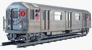 new york r62 subway train 3d model