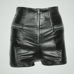 3d waist black leather shiny model