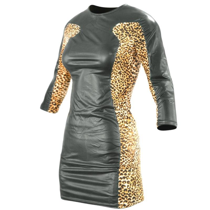 obj black shiny leopard dress