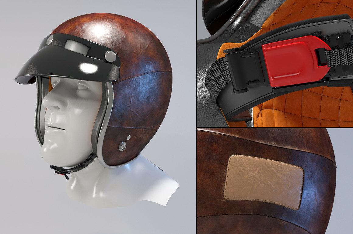 3d model retro motorcycle helmet