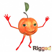 3d cartoon character apple