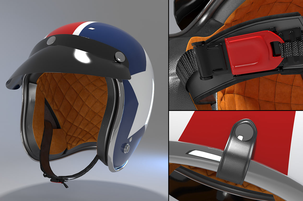 retro motorcycle helmet 3ds