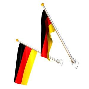 3d german flags set pole