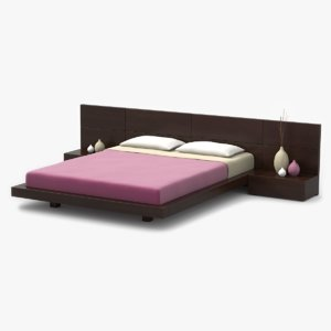 3d modern bed walnut wood
