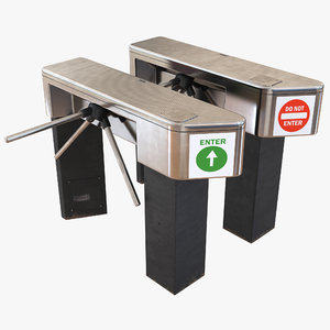 3d tripod turnstile set model