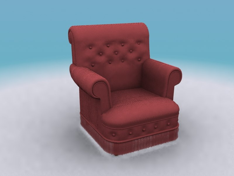 red armchair cloth 3d 3ds