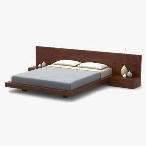3d model modern bed cherry wood