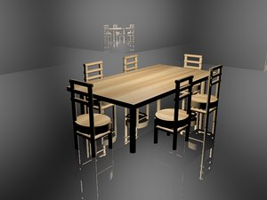 3d model of table chair