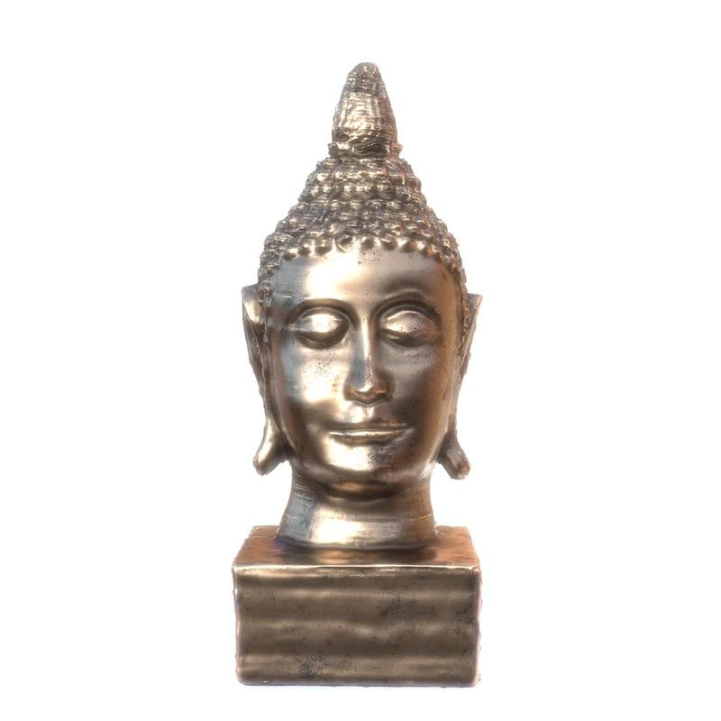 golden buddha head statue obj