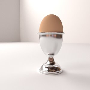 3d model silver egg cup