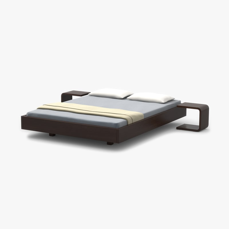 3ds simple bed walnut wood