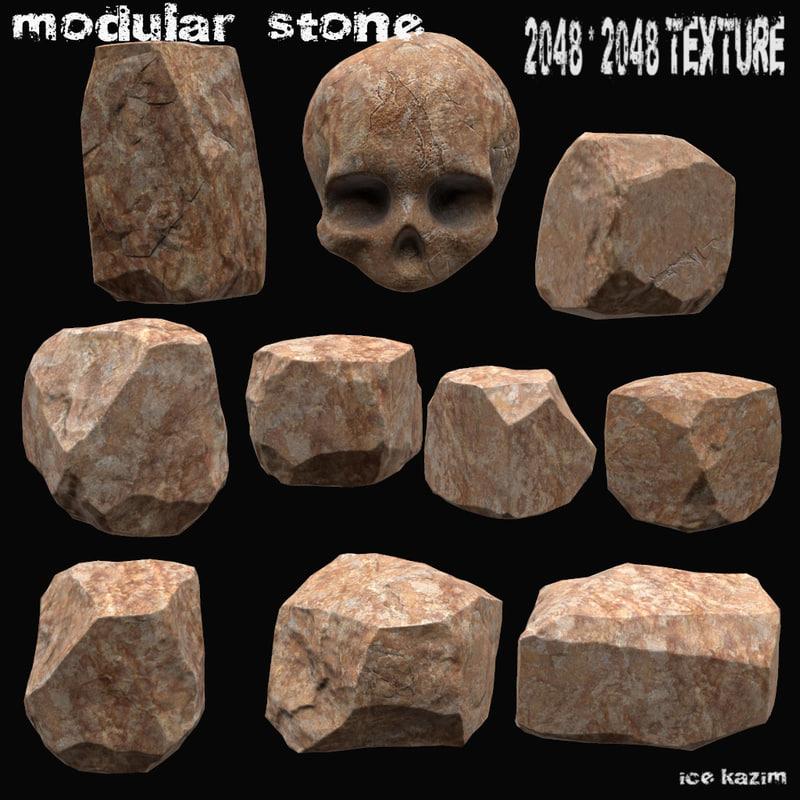 stone skull 3d obj