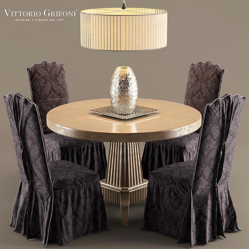 3d model chair table vittorio