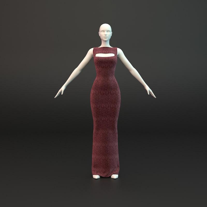 evening dress 3d max