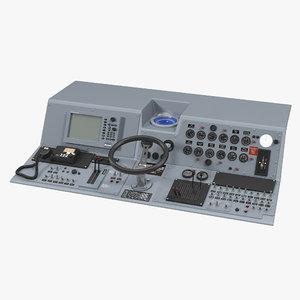 3d model military boat control panel