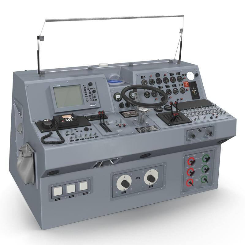 3d military boat control panel model