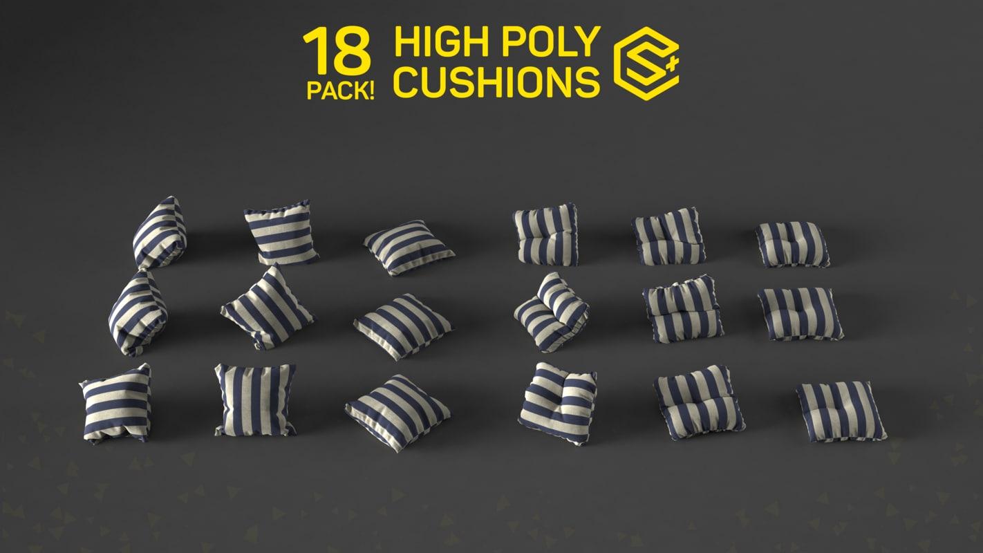 18 cushion pack 3d model