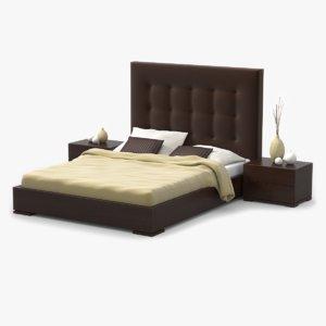 bed walnut wood 3d model