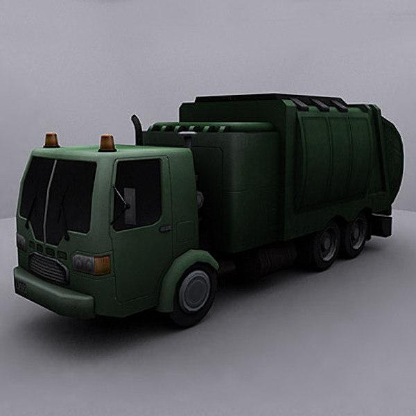 ready garbage truck 3d model