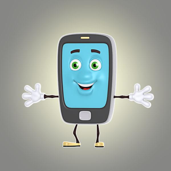 3d cartoon smartphone tablet