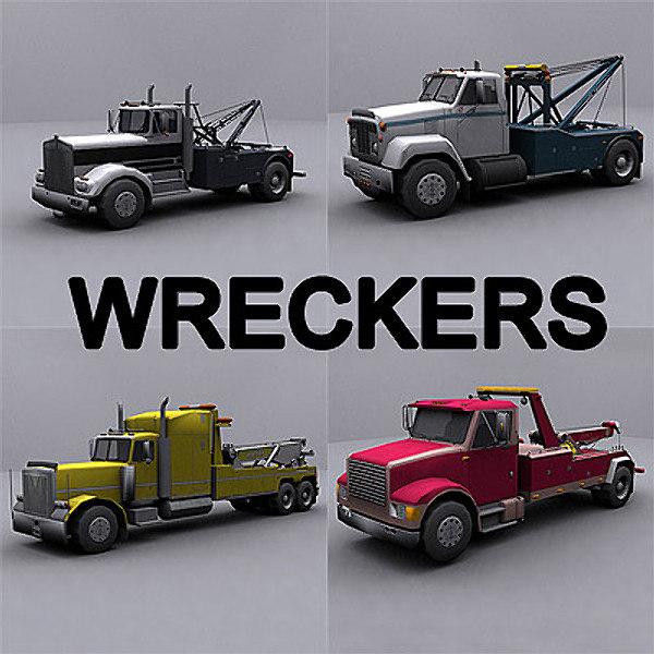 3d model ready wrecker tow truck