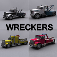 3d model ready wrecker tow truck