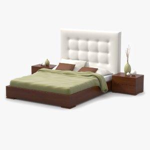 bed cherry wood 3d model