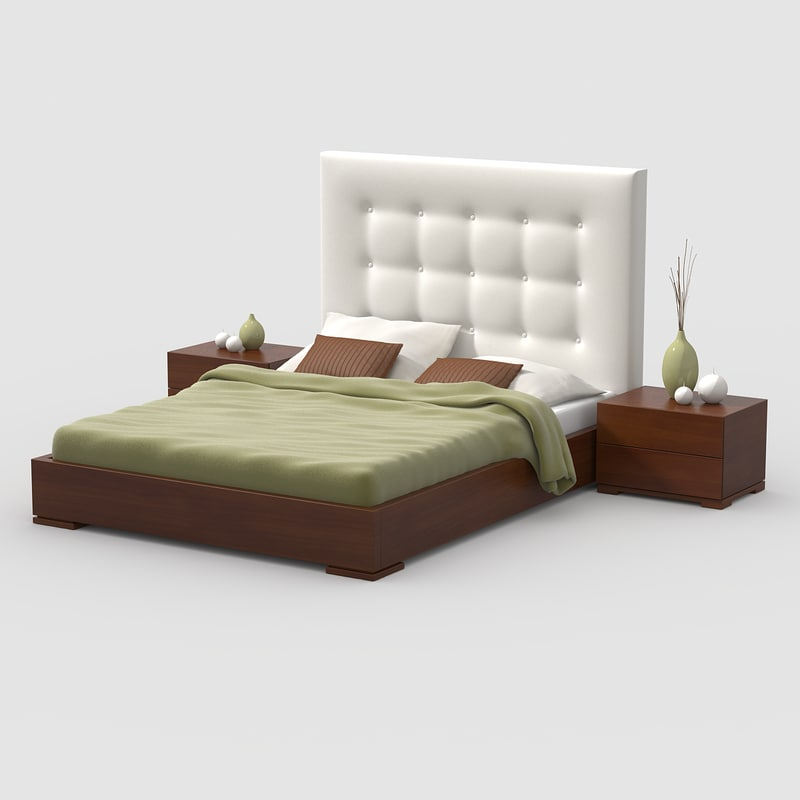 bed cherry wood 3d model
