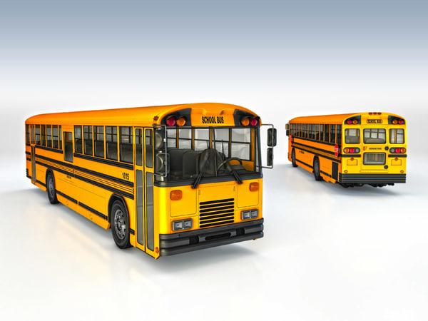 3d yellow school bus