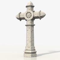 cross tomb tombstone 3d obj