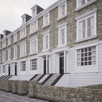 georgian terrace residential houses 3d model