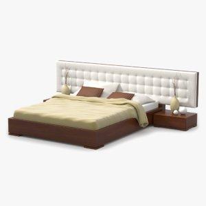 3d bed cherry wood model