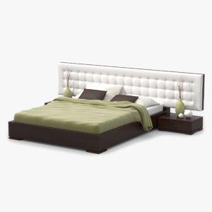3d model bed walnut wood