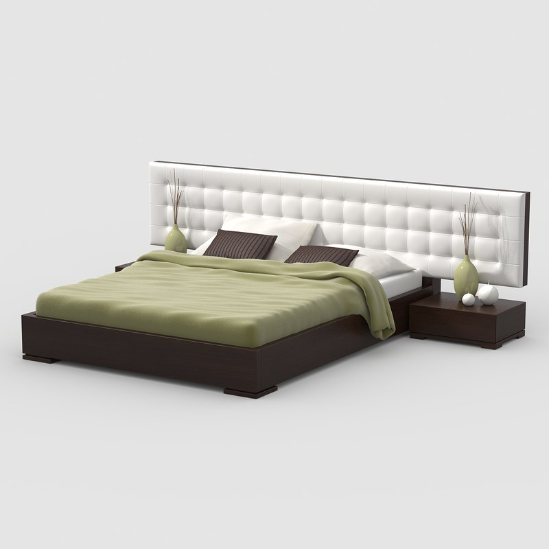 3d model bed walnut wood