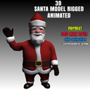 Santa 3D Model Rigged and Animated